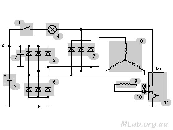 Принципиальная электрическая схема генератора